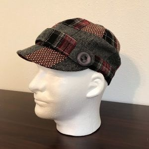 Pink and Gray Plaid Newsboy Cap